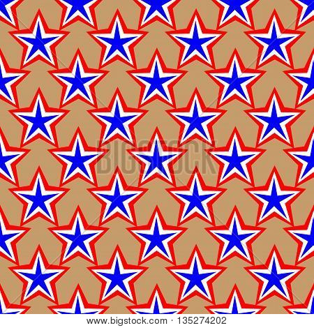 Star geometric seamless pattern. American patriotic stars image in bright red blue and white. Template for prints textiles wrapping wallpaper website etc Stock vector illustration