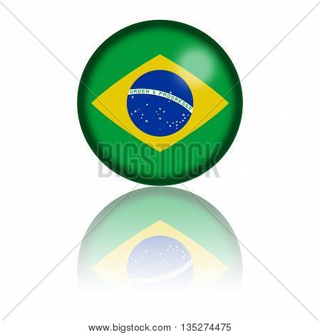 3D sphere or badge of Brazil flag with reflection at bottom.