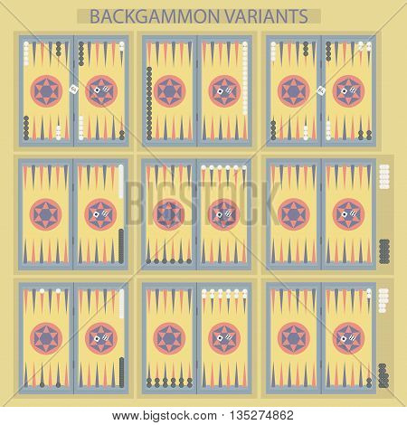 Backgammon on the wooden box, board with two dice and chips. Backgammon variants. Vector illustration.
