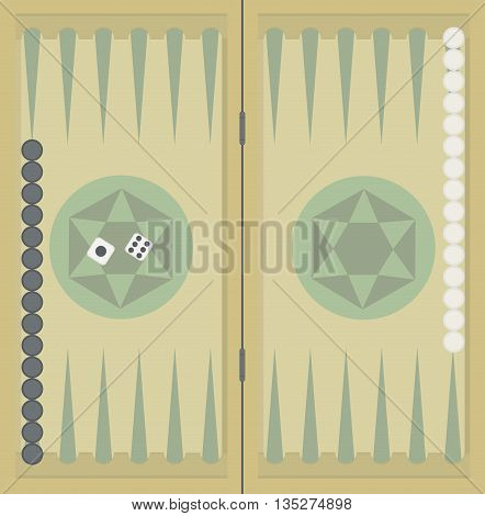 Backgammon on the wooden box, two dice and chips. Vector illustration.