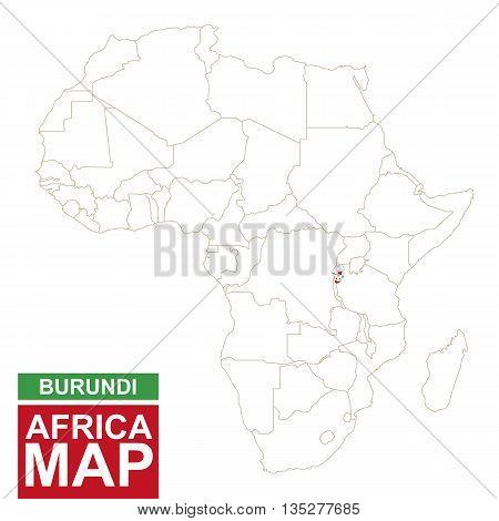 Africa Contoured Map With Highlighted Burundi.