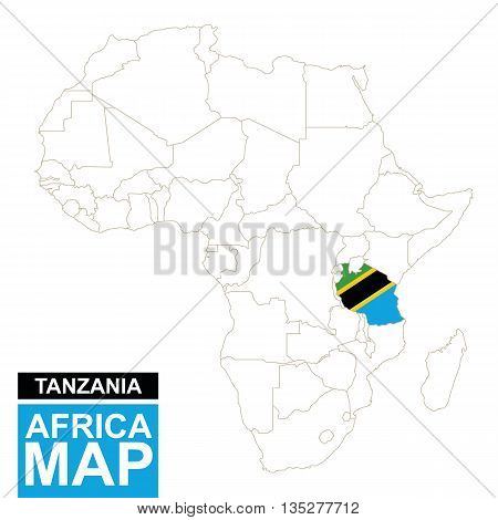 Africa Contoured Map With Highlighted Tanzania.