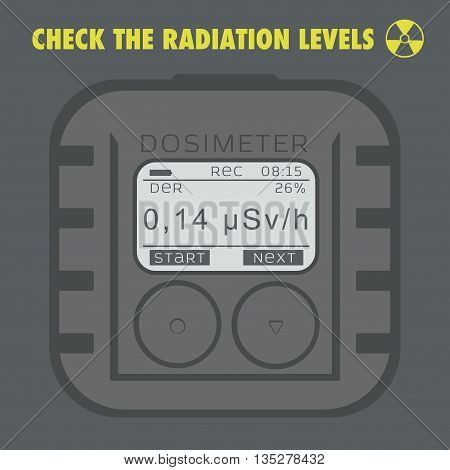 Electronic dosimeter. Personal Combined Radiation Detectors. Vector illustration.