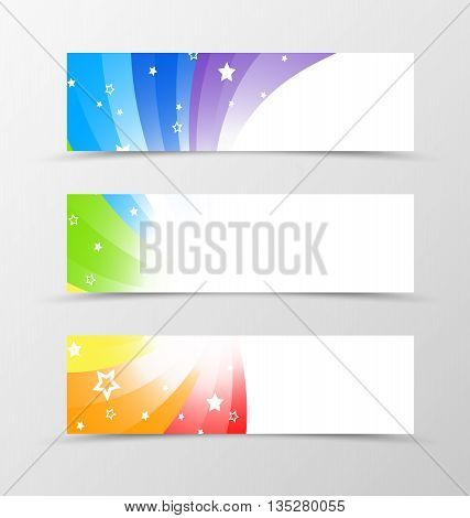 Set of banner design. Banner for header. Design of banner in rainbow style. Rainbow banner design with star
