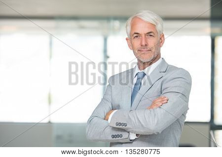 Portrait of a senior businessman with arms crossed in his modern office. Successful business man with arms folded looking at the camera. Portrait of a happy senior businessman in formal smiling.