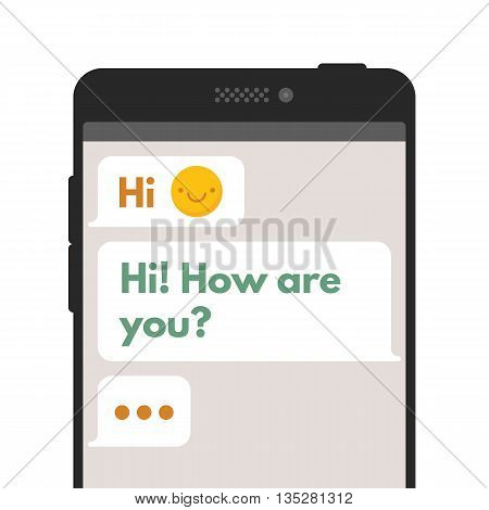 Chatting sms template bubbles. Compose dialogues using samples bubbles. Vector flat illustration isolated on white background.