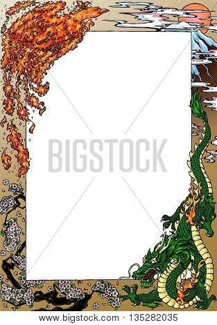 Frame in the Japanese style: a fiery phoenix and a green dragon, the mountain Fujiyama, a rising sun in clouds and the blossoming Oriental cherry