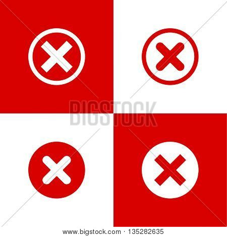Set of vector buttons with check marks, ticks, x. checkbox. Web and mobile applications. rejection and form of access denial, refusing. red. flat design