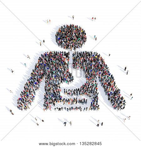 Large and creative group of people gathered together in the shape of the human esophagus, medicine, image. 3D illustration, isolated, white background.