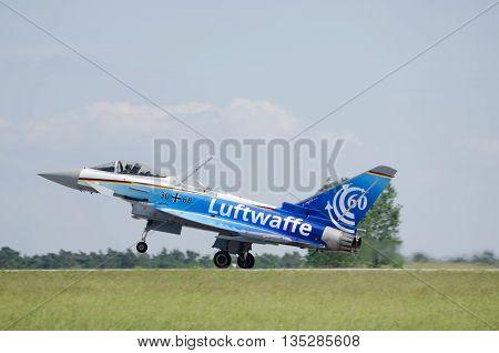 Germany, Berlin Schönefeld, June 3. 2016.;  eurofighter 60 Jahre Luftwaffe during the ILA in Berlin Schönefeld