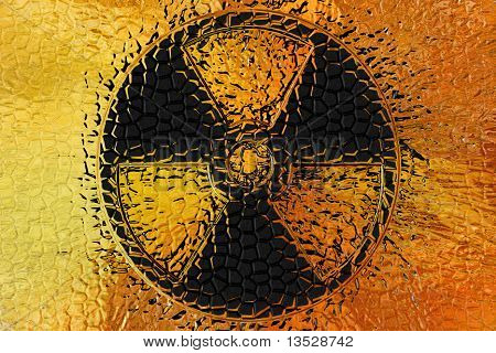 abstract background with sign radiation danger as pattern poster