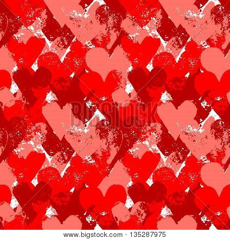 Red painted hearts on white seamless pattern, vector background