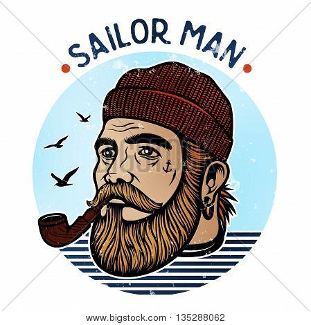 Portrait of bearded sailor with tobacco pipe. Hipster sailor man. Bearded boat captain smoking pipe poster
