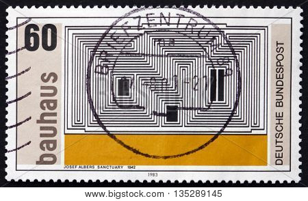 GERMANY - CIRCA 1983: a stamp printed in the Germany shows Sanctuary Zinc Lithograph by Josef Albers 1942 Bauhaus circa 1983