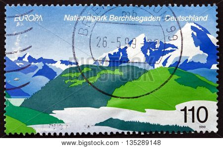 GERMANY - CIRCA 1999: a stamp printed in the Germany shows Berchtesgaden National Park Germany circa 1999