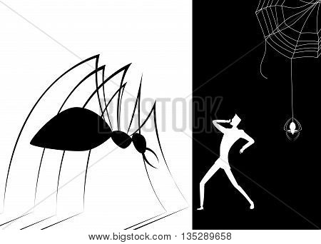 Shadow spider scare human .The concept of fears, phobias, depression, danger, crisis, despair