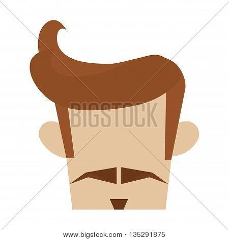 hipster hairstyle with thin mustache and goatee vector illustration