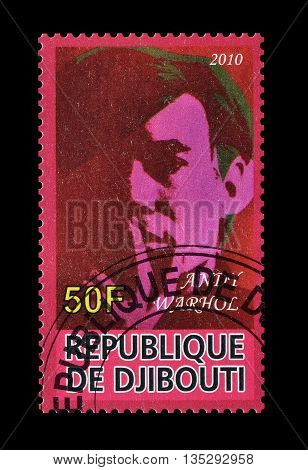 DJIBOUTI - CIRCA 2010 : Cancelled postage stamp printed by Djibouti, that shows Andy Warhol.
