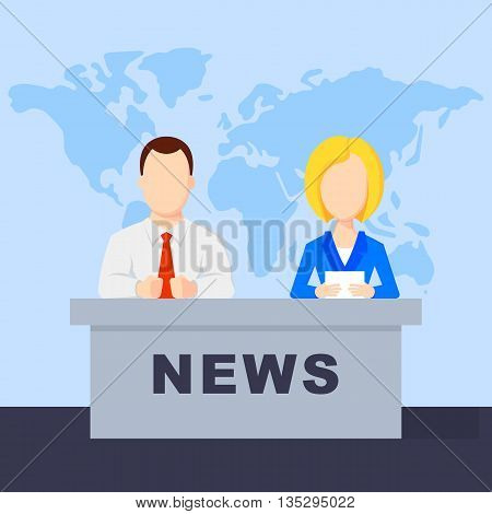 Anchorman on tv broadcast news. Anchorman on a globe background. Anchorman flat vector illustration. Anchorman with the release of breaking news.
