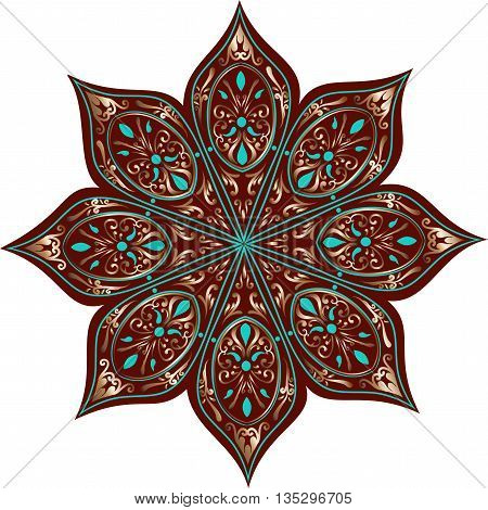 Drawing of a floral mandala in turquoise, dark brown and gold colors on a white background