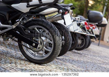closeup details of motobike on city srteet