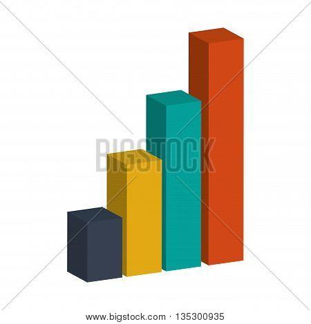 colored bar graph 3d vector illustration flat style design