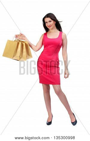 Picture Of Lovely Woman In Red Dress With Biodegradable Shopping Bag.