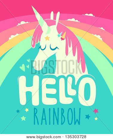 Rainbow unicorn composition. Trendy colorful typography with hand-drawn elements for t-shirt print, poster, card.