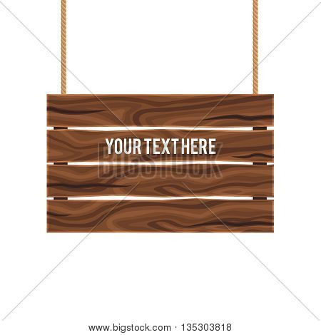 Separate empty wood composite signboard hanging on ropes of brown color on white background vector illustration