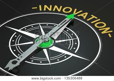 Innovation compass concept 3D rendering on black background