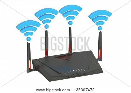 Dual-Band Wireless internet router 3D rendering isolated on white background