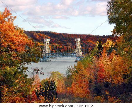 Houghton-Hancock Lift Bridge In The Fall