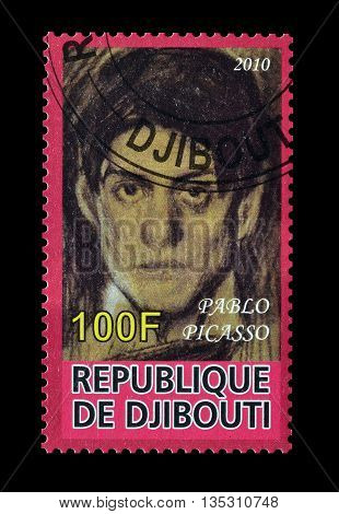 DJIBOUTI - CIRCA 2010 : Cancelled postage stamp printed by Djibouti, that shows painting by Pablo Picasso.