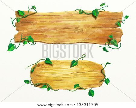 Wood signs with some vines. Digital watercolor, clipping path included.
