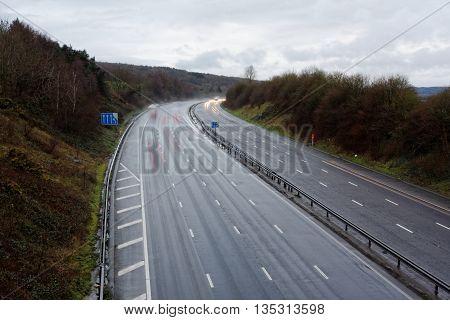 England's M5 Motorway on a Quiet, Wet Day