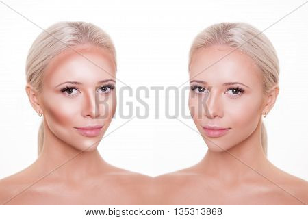 Divided woman face before and after blending Contour and Highlight makeup. Professional Contouring face make-up applying sample.
