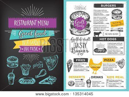 Menu placemat food restaurant brochure menu template design.