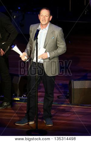 NASHVILLE, TN-SEP 1: Ed Warm accepts the Nightclub of the Year/Promoter of the Year award for Joe's Bar at the 9th Annual ACM Honors at Ryman Auditorium on September 1, 2015 in Nashville, Tennessee.