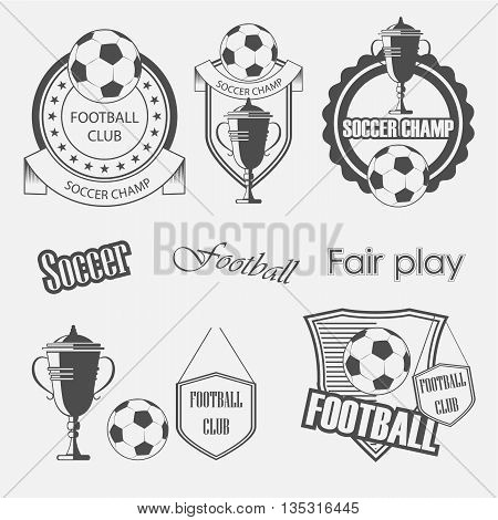 Set of soccer football crests and emblem designs