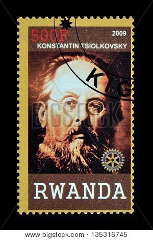 RWANDA - CIRCA 2009 : Cancelled postage stamp printed by Rwanda, that shows Konstantin Tsiolkovski.