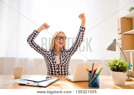Happy Successful Woman In Glasses Achiving Goal In Office