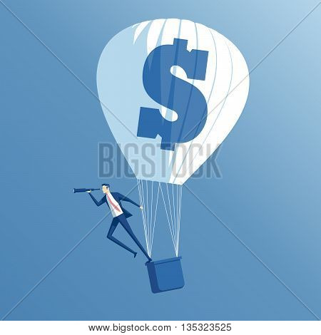 business concept searching growth and investment a businessman in hot air balloon looking through a telescope