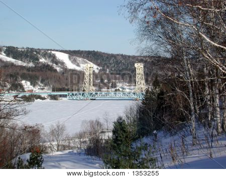 Houghton-Hancock Lift Bridge In The Winter