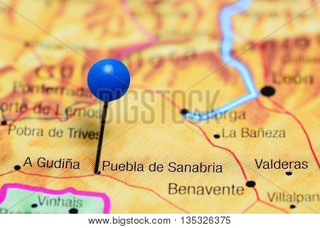 Puebla de Sanabria pinned on a map of Spain