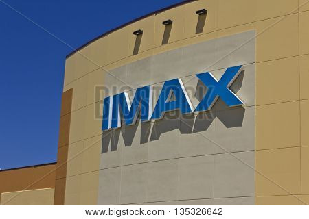Indianapolis - Circa June 2016: IMAX Movie Theater Logo and Signage. IMAX is a Large Format System of Presenting Movies and Motion Pictures II