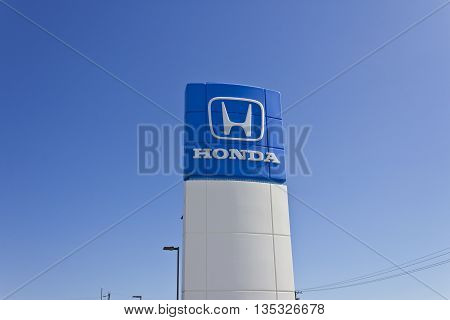 Indianapolis - Circa June 2016: Honda Motor Co. Logo and Sign. Honda Manufacturers Among the Most Reliable Cars in the World II