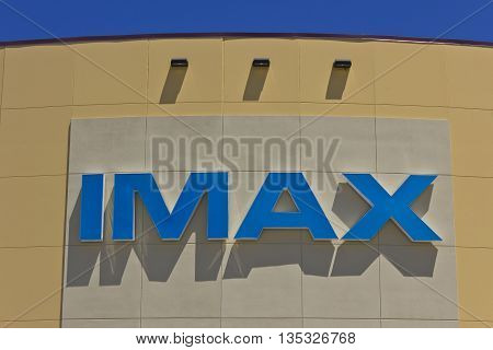 Indianapolis - Circa June 2016: IMAX Movie Theater Logo and Signage. IMAX is a Large Format System of Presenting Movies and Motion Pictures III