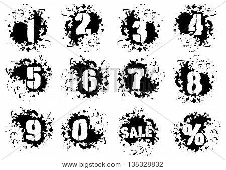 Grunge numerals with splashes icon set in black and white colors. Numbers in spatters from 0 to 9 also sale and percent signs as bonus. Isolated on white. Vector illustration