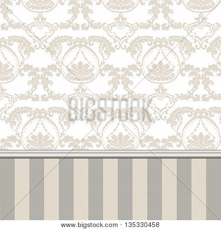 Damask Royal ornament pattern in English vintage Victorian style. Molding border and stripes. Luxury texture for wedding invitations greeting cards backgrounds. Gold Beige colors. Vector