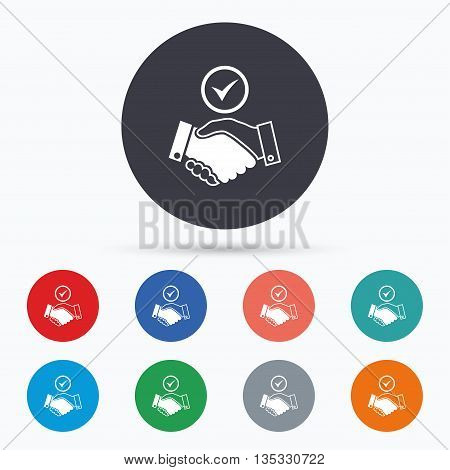 Tick handshake sign icon. Successful business. Flat handshake icon. Simple design handshake symbol. Handshake graphic element. Circle buttons with handshake icon. Vector